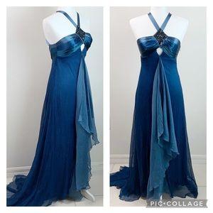 NWT bebe: silk chiffon jewel backless maxi dress